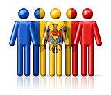 Flag of Moldova on stick figure