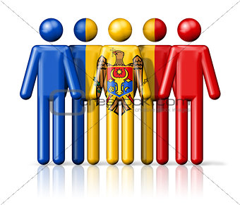Flag of Moldova on stick figure