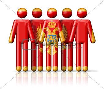 Flag of Montenegro on stick figure