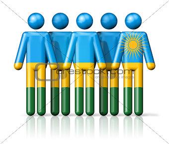 Flag of Rwanda on stick figure