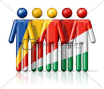 Flag of Seychelles on stick figure