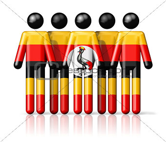 Flag of Uganda on stick figure