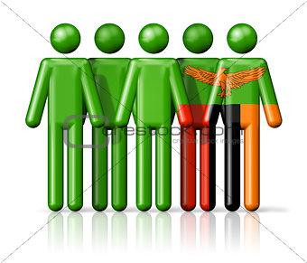 Flag of Zambia on stick figure