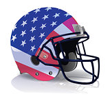 American Football Helmet with American Flag Illustration