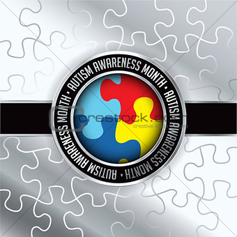 Autism Awareness Month Emblem Illustration