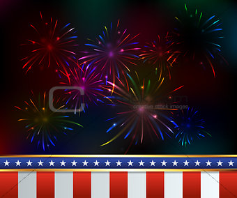 Fourth of July Fireworks Background Illustration