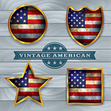 Vintage American Flag Emblems Illustration