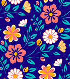 Seamless spring flower pattern on blue background.