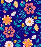 Seamless spring flower pattern on blue background.