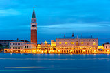 St. Marks Campanile and Doge Palace, night, Venice