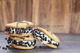 Three Chocolate Chip Mint Ice Cream Cookie Sandwiches