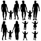 Black silhouettes Gay, lesbian couples and family with children