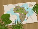map jungle africa cartoon treasure hunter