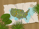 jungle map america cartoon adventure