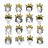 Girls princess with crown on head for your design