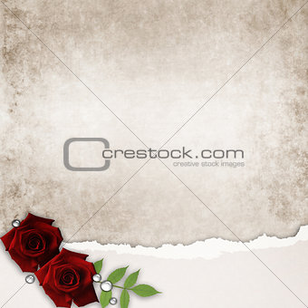 card with roses and old grunge paper