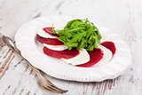 Beet with goat cheese, gourmet culinary eating.