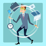 Businessman juggler planning time work