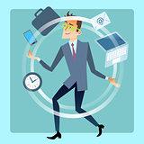 Businessman juggler planning time work