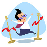 Businessman breaks the finish tape schedule of sales growth busi