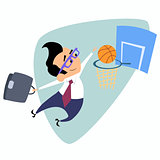 Businessman throws a basketball into the basket business theme s
