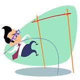 Businessman pole vault height business theme sports