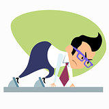 Businessman start treadmill startup business theme sports