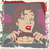 Scared woman driver behind the wheel of a car pop art comics re