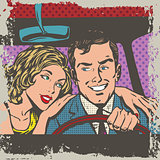 Man and woman in the car pop art comics retro style Halftone