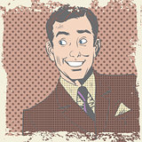 Smiling man lover flirts pop art comics retro style Halftone