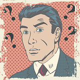 Confused man emotion misunderstanding the questions pop art comi