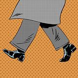 Male feet are shoes wind coat pop art comics retro style Halfton