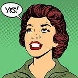 Black woman says Yes pop art comics retro style Halftone