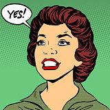 Black woman says Yes pop art comics retro style Halftone