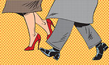 Feet man and woman Shoe go bad weather street pop art comics ret
