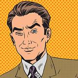 man looks up closing one eye pop art comics retro style Halftone