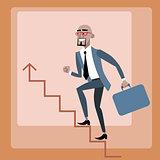 African businessman climbs the career ladder
