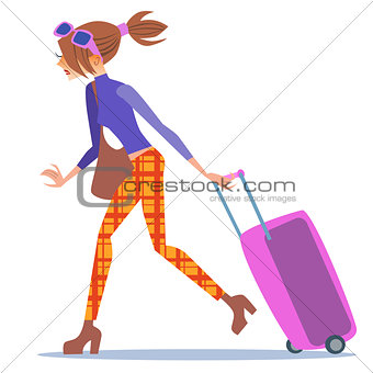 Tourist woman walking with a suitcase journey