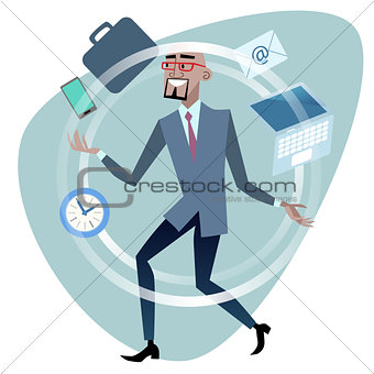 African businessman time management concept juggler