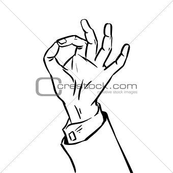 sketch success hand gesture OK