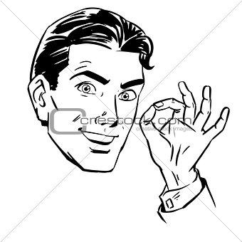 Sketch a man wants gesture okay