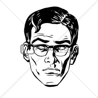 Anxious emotional face men fear  uncertainty eye retro