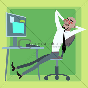 African businessman resting at the computer office