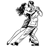 Kiss man and woman dancing couple tango retro line art