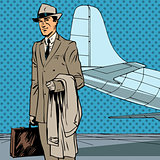 Male passenger air traveler business trip businessman pop art re