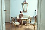 elegant model in luxury room
