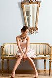 girl in vintage aristocratic interior shot