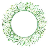 Fresh green leaves vector border.