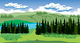 Beauty landscape with forest and mountain