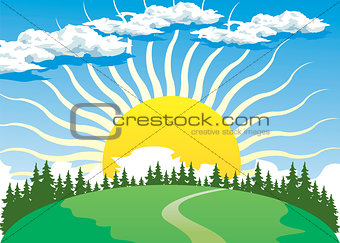 Country landscape with Sun